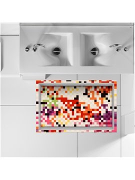 Colorful Checkered Slipping-Preventing Water-Proof Bathroom 3D Floor Sticker