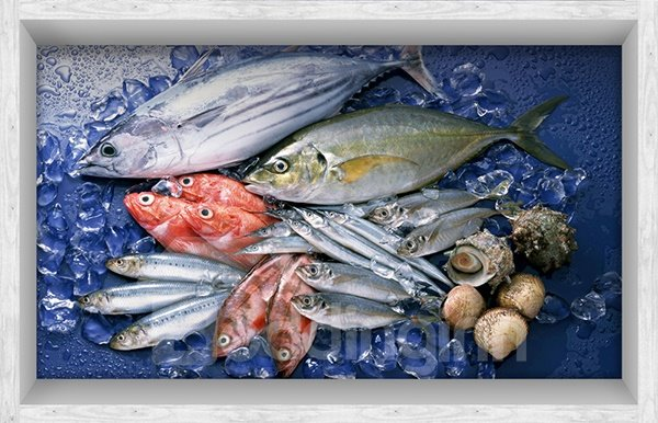 Seafish Pattern Slipping-Preventing Water-Proof Kitchen Bathroom 3D Floor Sticker