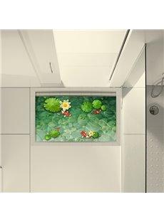 Golden Fish in Lotus Pond Slipping-Preventing Water-Proof Bathroom 3D Floor Sticker
