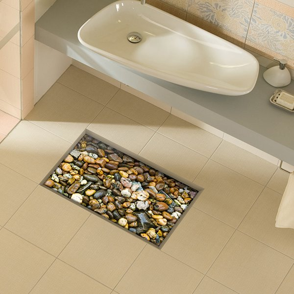 Creative Cobblestone Slipping-Preventing Water-Proof Bathroom 3D Floor Sticker