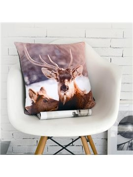 European Style Elk Print Polyester Throw Pillow