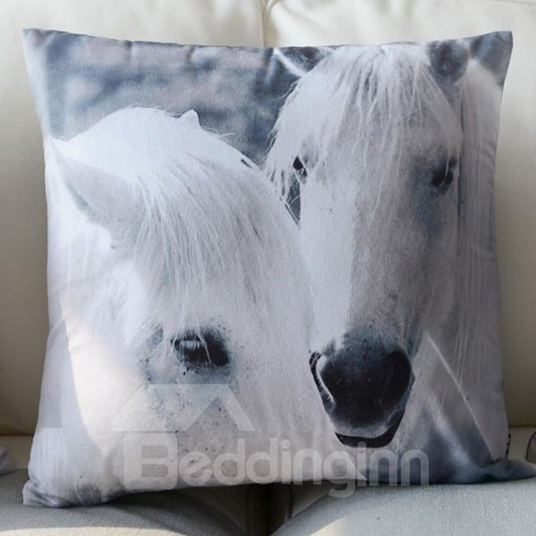 European Style Two White Horses Print Polyester Throw Pillow