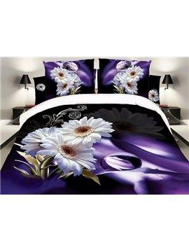 White Daisy Print Noble Purple 4-Piece Polyester Duvet Cover Sets