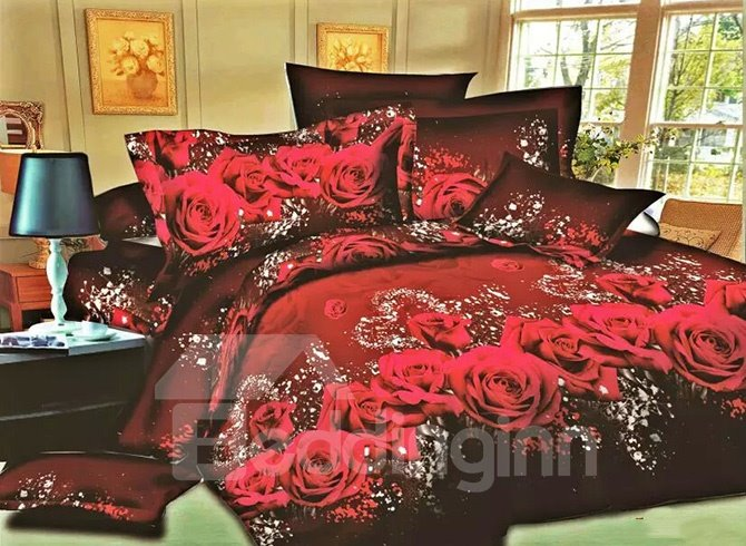 Red Rose Printing High Quality Polyester 4-Piece Duvet Cover Sets