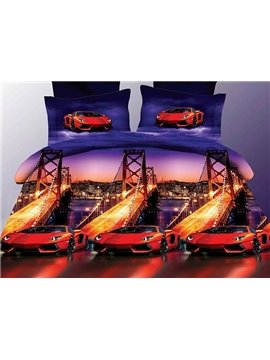 Bay Bridge Red Roadster Printing Polyester 4-Piece Duvet Cover Sets
