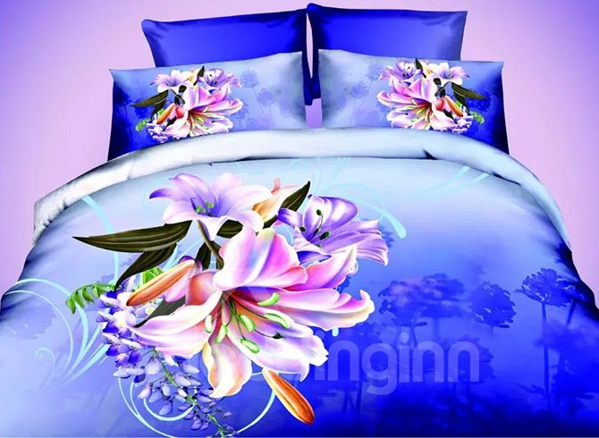 Well-made Vibrant Lily Design Dark Blue 4-Piece Polyester Duvet Cover Sets 11499854