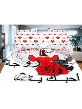 Wedding Ring Red Rose Heart Print White 4-Piece Polyester Duvet Cover Sets