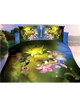 Pastoral Pink Lily Maple Leaf Print 4-Piece Polyester Duvet Cover Sets
