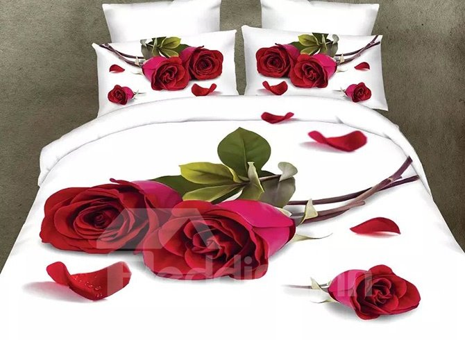Romantic Red Rose and Petals Design 4-Piece Polyester Duvet Cover Sets 11499859
