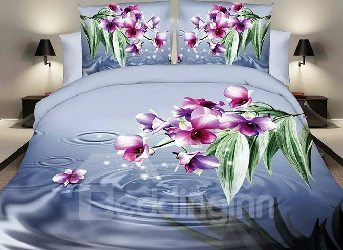 Vibrant Rosy Flowers Design Blue 4-Piece Polyester Duvet Cover Sets 11499865