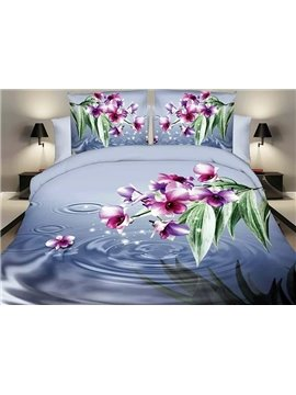Vibrant Rosy Flowers Design Blue 4-Piece Polyester Duvet Cover Sets