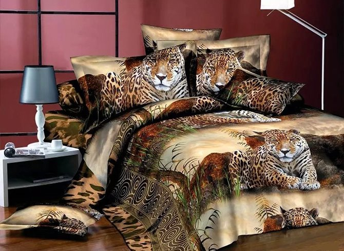 Powerful Crouching Leopard Print European Style Polyester 4-Piece Duvet Cover Sets