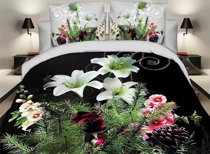 White Lily and Pine Branch Print 4-Piece Duvet Cover Sets