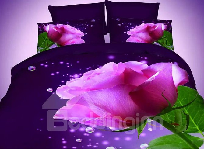 Blooming Rosy Flower Print Dark Blue 4-Piece Polyester Duvet Cover Sets beddinginn