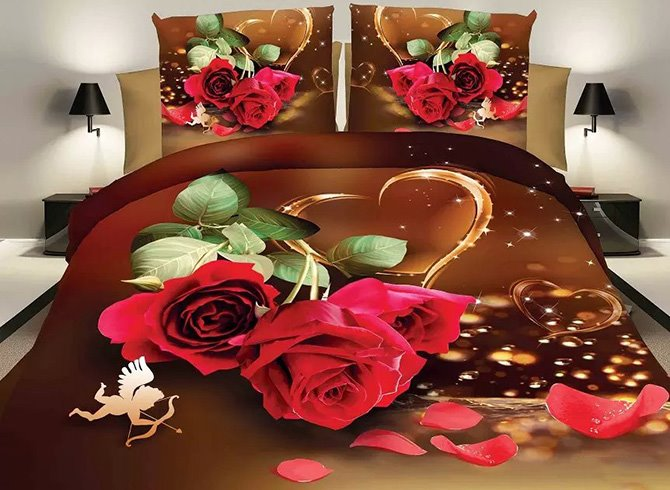 Romantic Red Rose Lovely Cupid Design Wedding 4-Piece Polyester Duvet Cover Sets 11499875