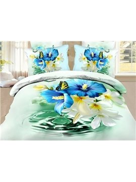 Refreshing Blue and White Flowers Butterfly Print 4-Piece Polyester Duvet Cover Sets