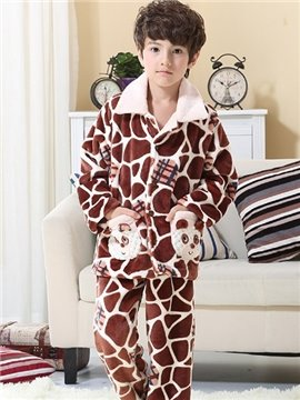 Warm Coral Fleece Kids Pajamas with Pockets