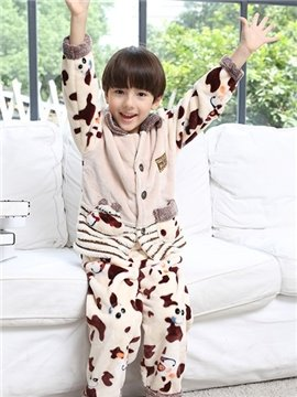 Ultra Soft Coral Fleece Cow Pattern Kids Pajamas