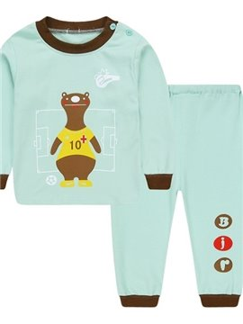 Light Blue Round Collar Bear Print Kids Pajamas