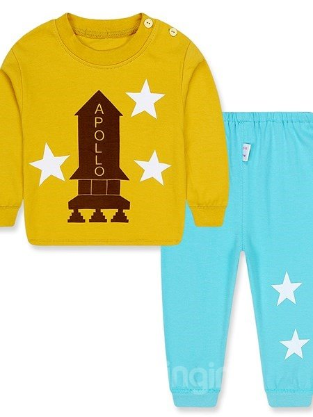 Rocket Print Solid Color Thickened Kids Pajamas