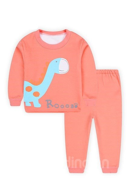 Lovely Dinosaur Print Round Collar Thickened Kids Pajamas