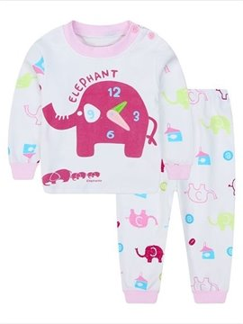 Elephant Clock Print Colorful Small Elephant Pattern Kids Pajamas
