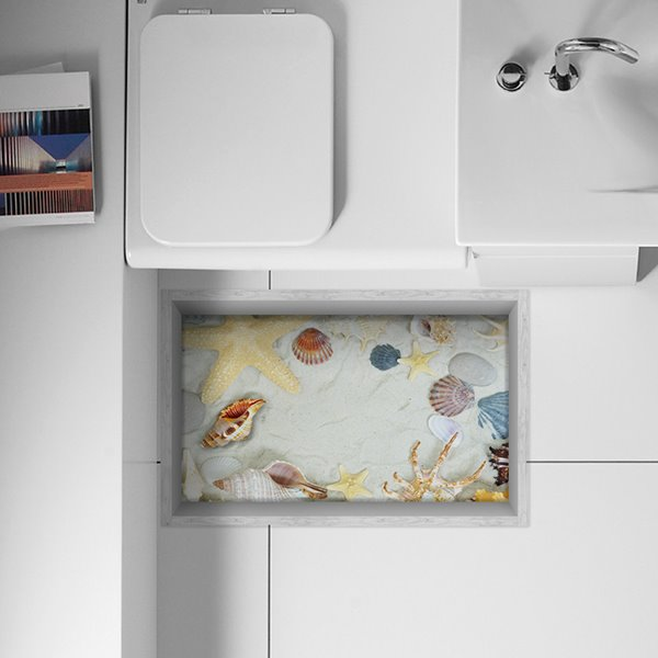 Sorts of Seashells and Starfish Water-Proof Slipping-Preventing Bathroom 3D Floor Sticker