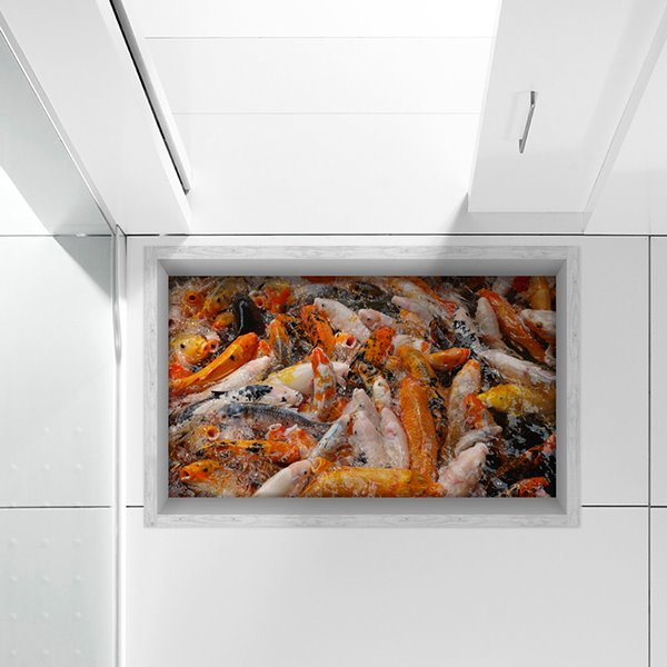Swarm of Golden Fish Slipping-Preventing Water-Proof Bathroom 3D Floor Sticker
