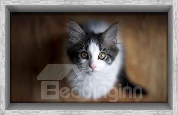 Adorable Cat Looking Up Slipping-Preventing Water-Proof Bathroom 3D Floor Sticker