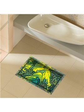Abstract Line Pattern Water-Proof Slipping-Preventing Bathroom 3D Floor Sticker