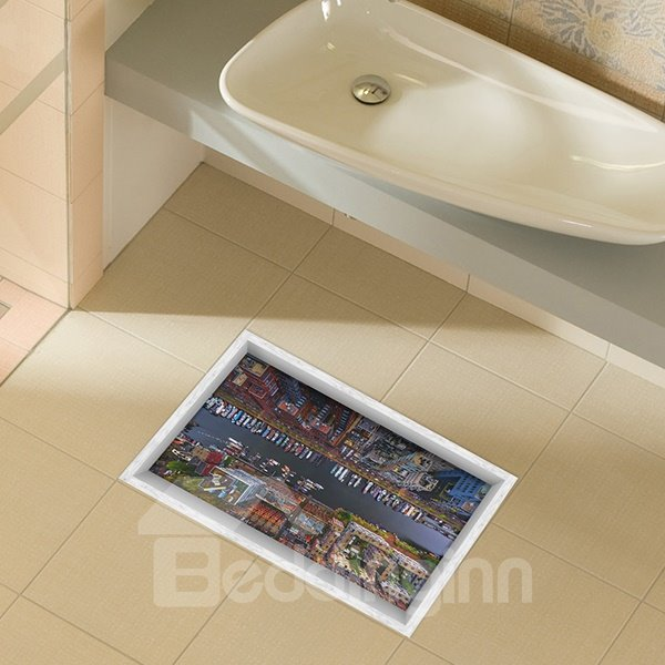 Overlook of City Street From High Above Slipping-Preventing Water-Proof Bathroom 3D Floor Sticker