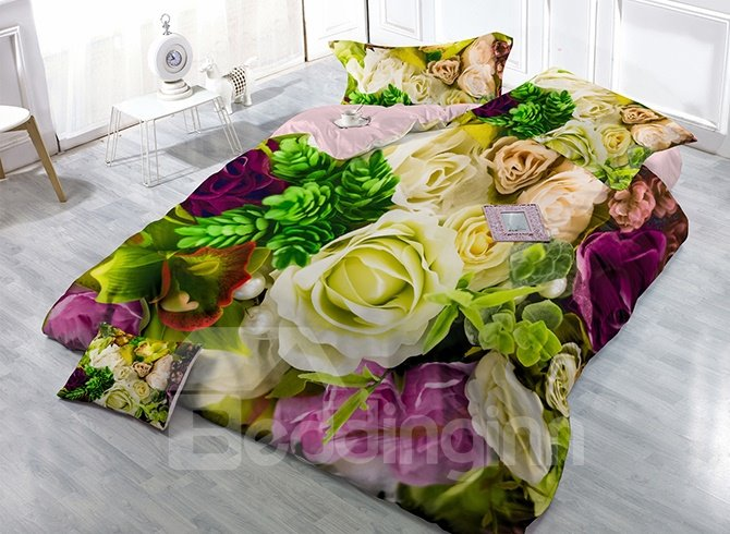 Pastoral Romantic Flowers Print Satin Drill 4-Piece Duvet Cover Sets
