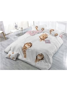 Likable 3D Cats Print Satin Drill White 4-Piece Duvet Cover Sets