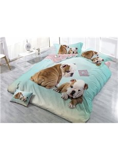 Adorable Dogs Print Light Blue Satin Drill 4-Piece Duvet Cover Sets