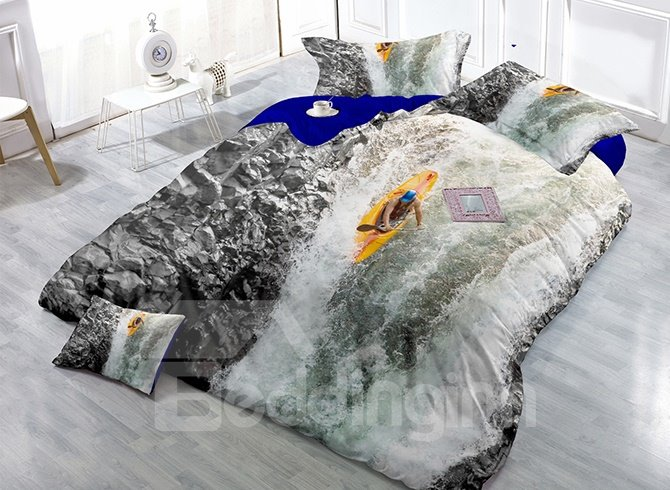 Water Rapids Printing Satin Drill 4-Piece Duvet Cover Sets