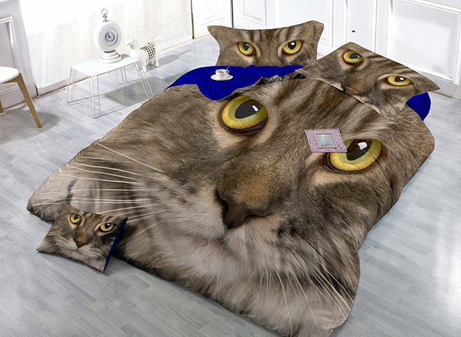 Fire-eyed Cat Print Satin Drill 4-Piece Duvet Cover Sets