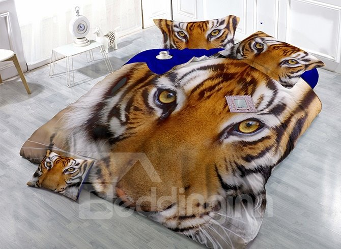 Strong Lifelike Tiger Print Satin Drill 4-Piece Duvet Cover Sets
