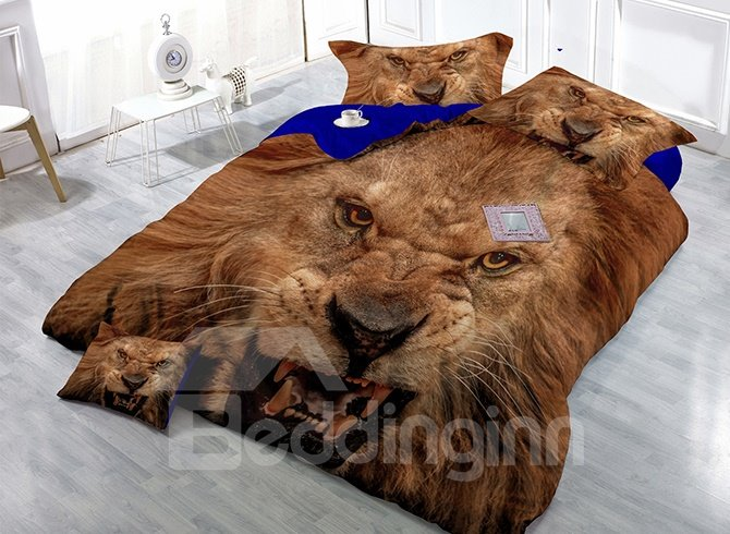 Powerful Vivid Lion Print 4-Piece Satin Drill Duvet Cover Sets