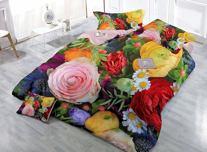 Vibrant Colorful Flowers Print Satin Drill 4-Piece Cotton Duvet Cover Sets 11501352