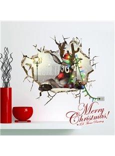 Festival Christmas Cartoon Reindeer Through Wall Hole 3D Wall Sticker