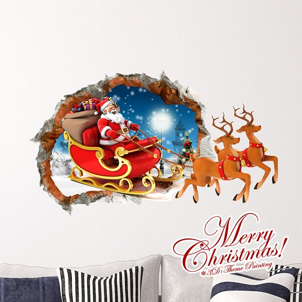 Festival Santa Claus Riding on Reindeer Sledge Removable 3D Wall Sticker