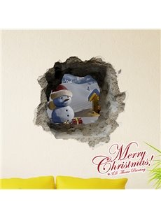 Christmas Theme Little Snowman in Christmas Hat in Snow Removable 3D Wall Sticker