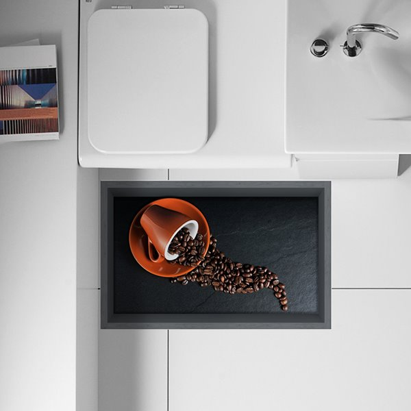 Spilled Coffee Beans from Coffee Cups Removable Kitchen 3D Floor Sticker