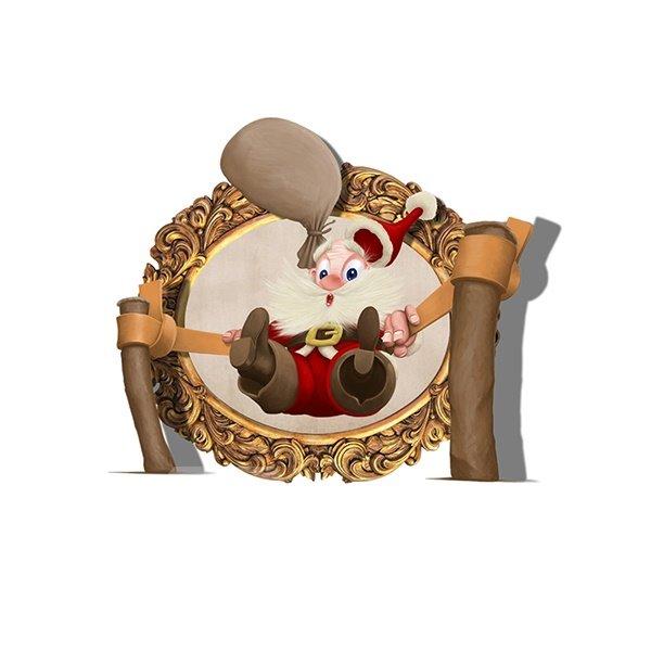 Cartoon Santa Claus on Slingshot Removable 3D Wall Sticker
