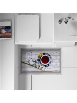 Creative Relaxed Afternoon Tea Time Removable Kitchen Bathroom 3D Floor Sticker