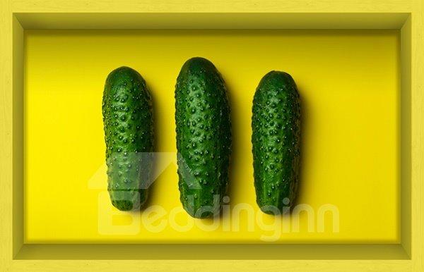 Unique Three Cucumbers Slipping-Preventing Water-Proof Kitchen Bathroom 3D Floor Sticker