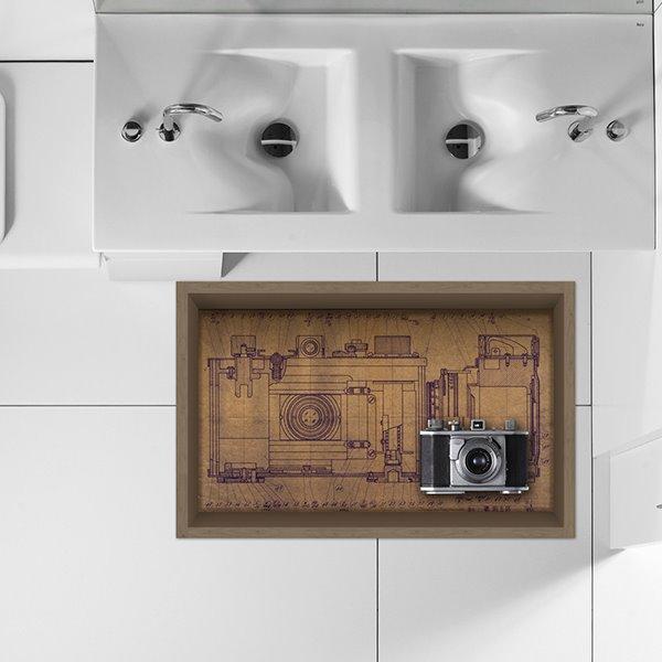 Vinatge Old-Fashioned Camera Slipping-Preventing Water-Proof Bathroom Living Room 3D Floor Sticker