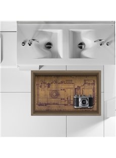 Vinatge Old-Fashioned Camera Slipping-Preventing Water-Proof Bathroom Living Room 3D Floor Sticker