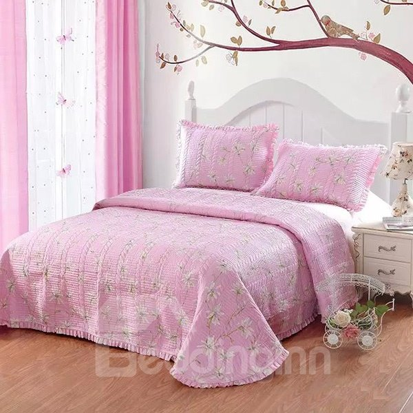 Lovely Flowers Print Pink 3-Piece Cotton Bed in a Bag