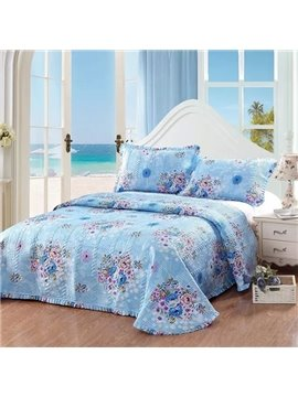 European Style Flowers Design King Size 3-Piece Blue Bed in a Bag